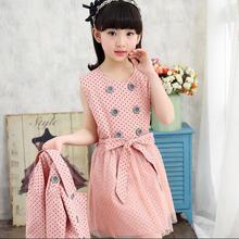 Child Casual Clothing Sets Kid Girls Korean Clothes Sets Child's Dot Dress + Coats Set Teenagers Long-Sleeve Dress + Coat 2 Suit(China (Mainland))