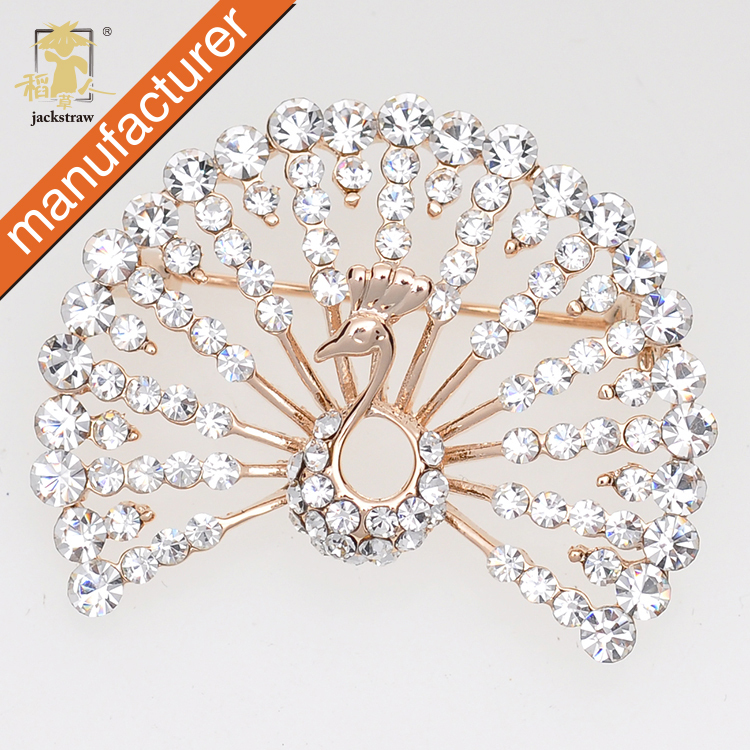 Broches China Wholesale Handmade Gold-plated Full Display Elegant Peacock Brooches Cheap Rhinestone Jewelry For Wedding Dresses(China (Mainland))
