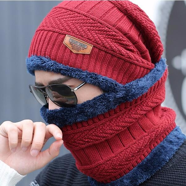 2017 Man's Winter Balaclava fur Hat Thickened  Face Windproof/ Ski/Skating Mask Beanies Skull Scarf Helmet Ear Cap Combo