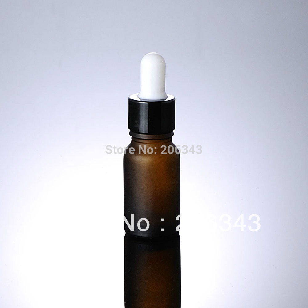 10ml brown frosted bottle black collar white bulb ,glass dropper ,for cosmeticl packaging  -  all packing you want store