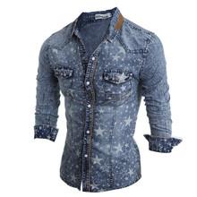 2015 New Fashion Men Jeans Shirt Cotton Slim Fit Brand Casual Denim Shirts Long Sleeve Male Cowboy Shirt Camisa Jeans Masculina(China (Mainland))