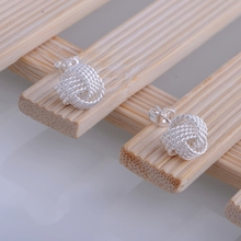 interlaced shiny silver plated earrings 925 jewelry for women silver earrings BJUZFRTP(China (Mainland))