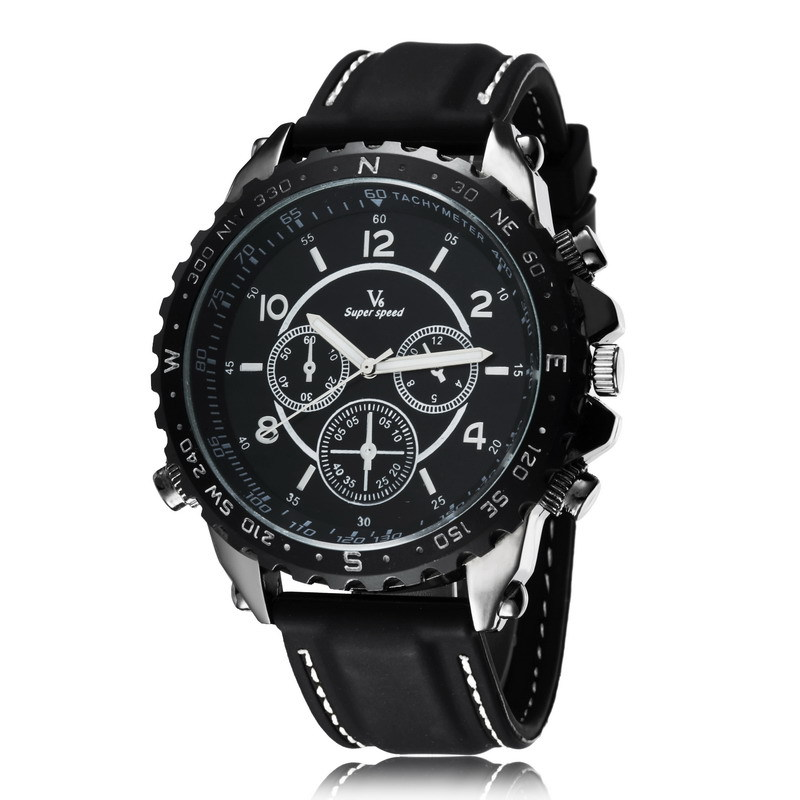Hot Marketing High Quality V6 Big Dial Quartz Watch Men Military Watches Sport Casual Wristwatch Silicone Band Fashion Hours(China (Mainland))