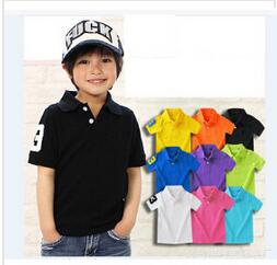 2-12Y Boys Clothing 2016 Summer Kids T-shirt Classic Children Brand T shirts Cotton Tees Solid Color Boys Girls Tops Polos Shirt(China (Mainland))