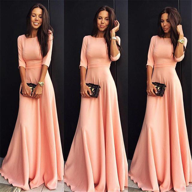 Платья в пол розовые