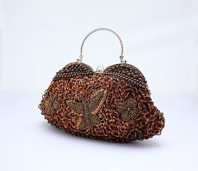 Stylish Brown Chinese Women's Formal Evening Bag Beaded Sequins Pearls Handbag Chain Purse Flower Totes Size28 x 25cm 1250(China (Mainland))
