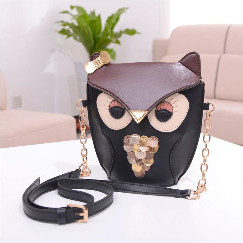New Fashion Cartoon Bag Owl women Shoulder Bags Leisure Women Leather Handbag Fox wallets Women casual Messenger Bag(China (Mainland))