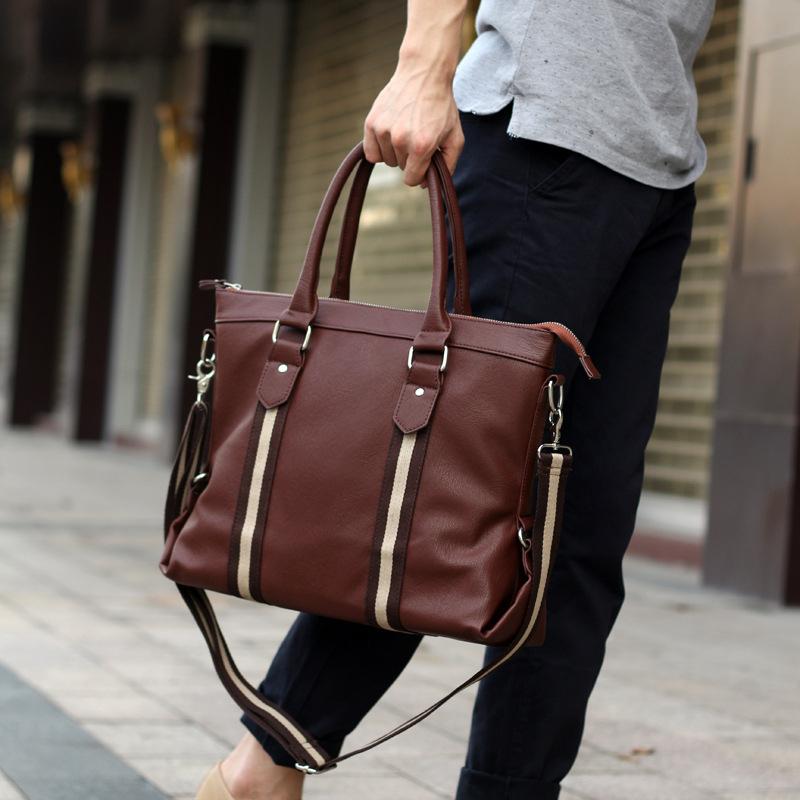 2015 Men Casual Briefcase Black Business Shoulder Pu Leather Bag Men Messenger Bags Brand Laptop Handbag Bag Men Travel Bags