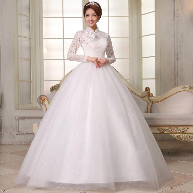 Buy 2014 latest wedding dress lace veil brides getting for Long sleeve princess wedding dresses