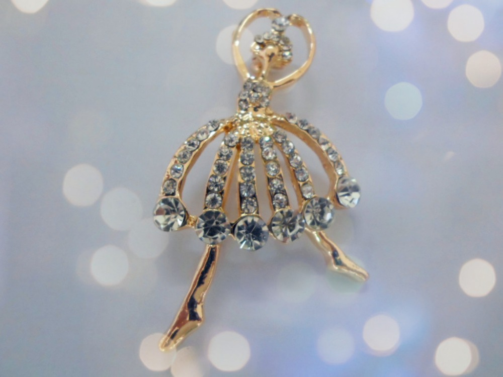 Special Korean Fashion Girl Created Diamond Jewelry Noble Female Ballet Girl Brooch Badge Corsage(China (Mainland))