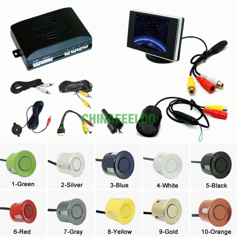 Car 4-sensor Rearview Parking Sensor Reversing System With 3.5inch Monitor and 16.5mm Camera J-2762<br><br>Aliexpress