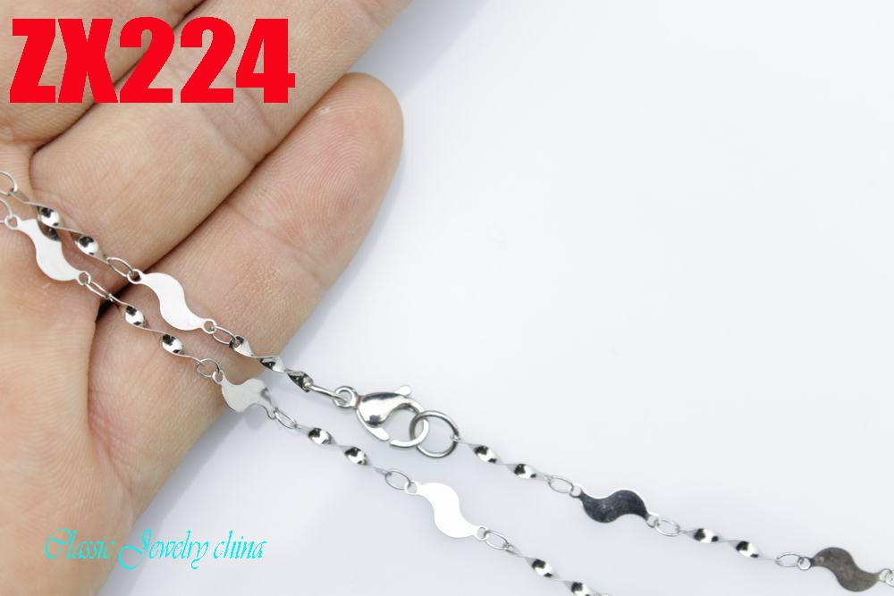 20Inch 100% stainless steel necklace distorted sheet steel chain fashion men's women jewelry chains jewelry parts ZX224(China (Mainland))
