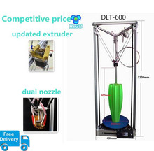 He3D dual nozzle head delta 600 3d printer kit optional heatbed large print size
