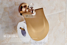 Newly US Luxury Toilet Paper Holder Rose Golden Polished Roll Tissue Rack Cover Wall Mounted - super Sanitary ware factory store