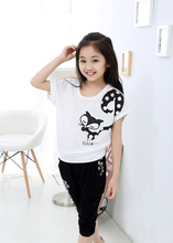 2016 Brand Summer Girls Print Cartoon Fox Sport Wear Cotton Clothing Set O-Neck Short Sleeve+ Pants Girls School Clothing Set