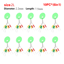14sizes 10 Pc 6 in 1  Black /Multi   Rubber Oval Stopper Fishing Bobber Float(China (Mainland))