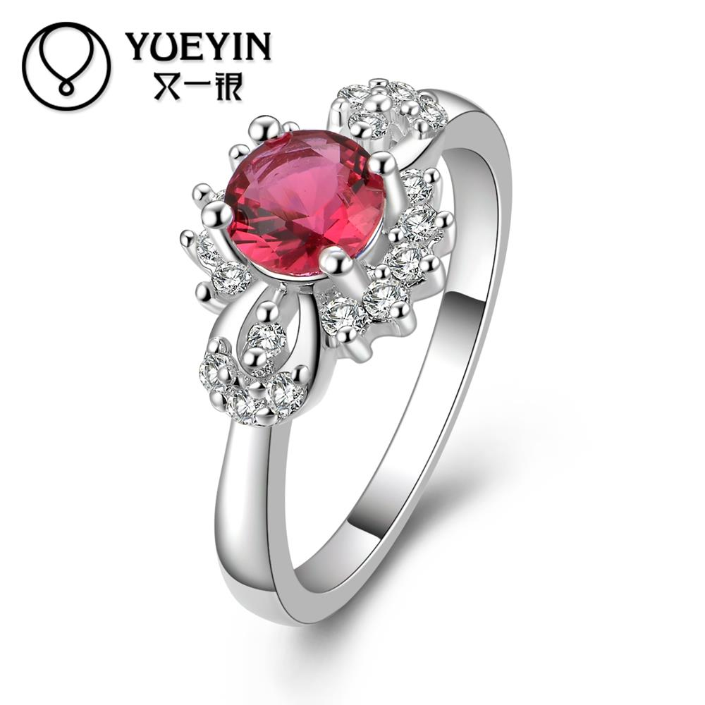 R374 Promotion Korean Elegant Bead Ruby Jewelry 925 Sterlings Silver Rings For Women Wedding Engagement Ring