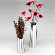 Free shipping exquisite stainless steel vase home decor flower pot optional 2 sizes big and small   taper shape frosted polished(China (Mainland))