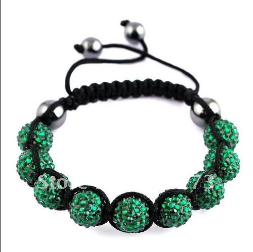 Green Color Braid Chain Bracelet 10mm(9p) Disco Crystal Ball 10MM (2P)Hematite Beads Fashion Jewellery New Free Shipping NF673g<br><br>Aliexpress