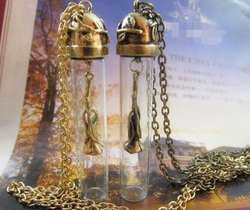 Min. Order $12(Mix Order) Rose Flower Magic Bottle Pendant Necklace Vintage Bronze & Gold Color Free Shipping, S1325