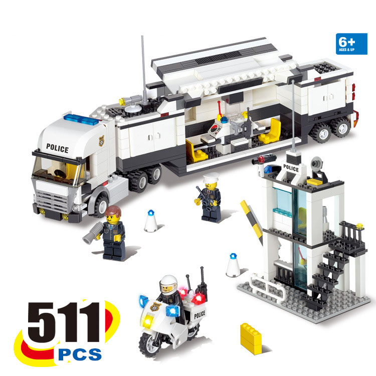 511pcs Kazi 6727 City Police Station Minifigures Command Center Police Command Vehicle Building Blocks Toys Compatible With Lego(China (Mainland))