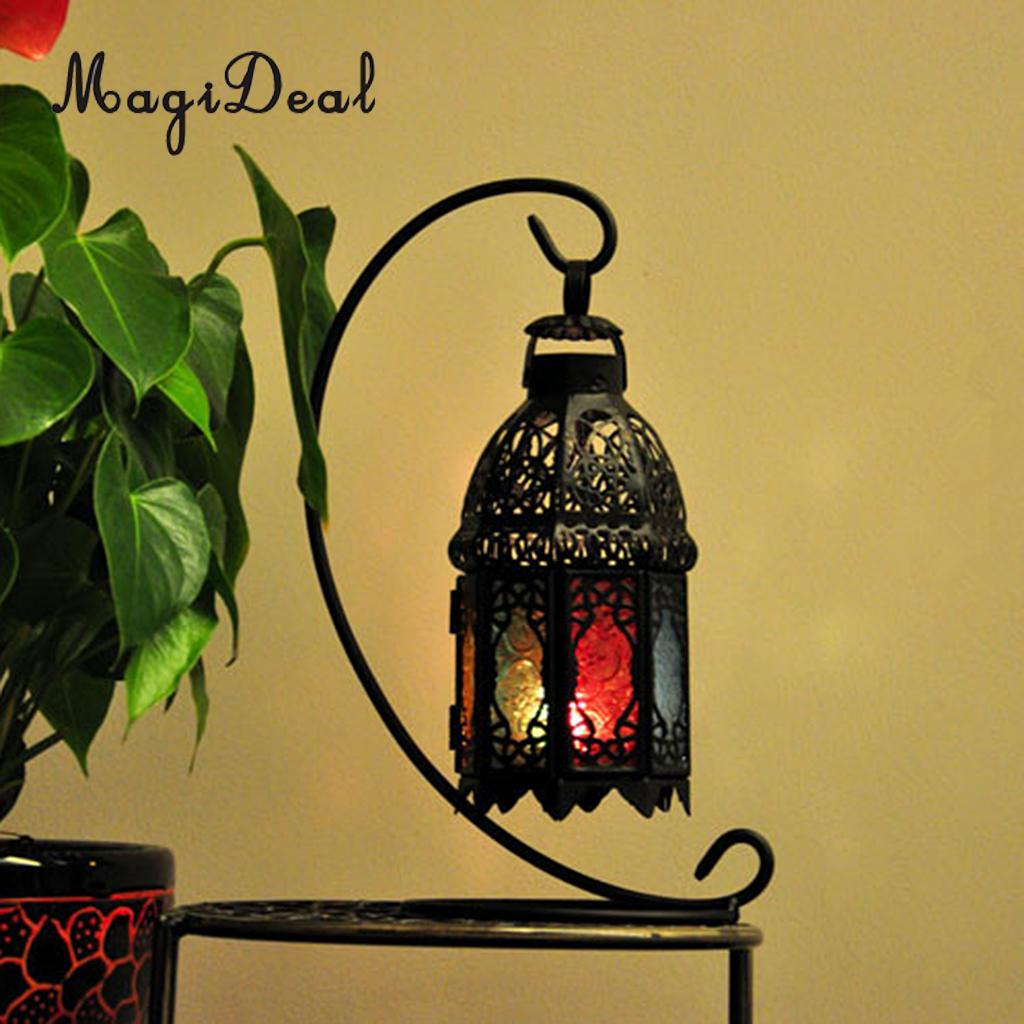 MagiDeal Moroccan Wall Hanging Colorful Glass Lamp Lantern Tea Light Candle Holder, Home Decorations Wedding Party Decor