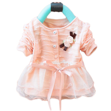 2016 fashion baby dress girls dress spring and autumn clothes long sleeve flower chiffon lacing kids baby clothing free shipping(China (Mainland))