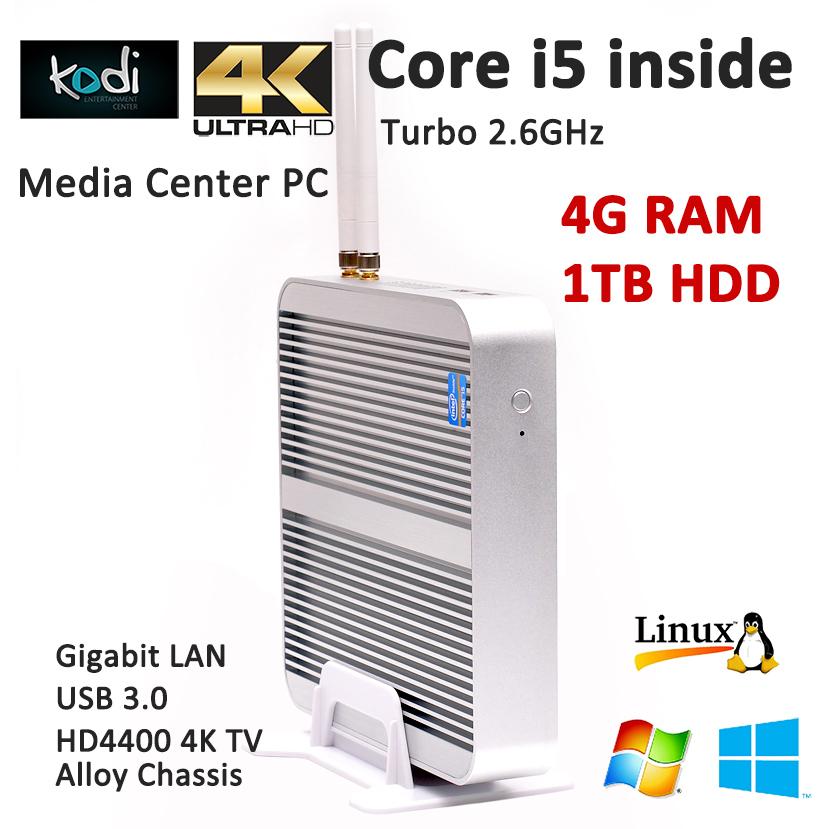 Fanless Mini Gamer PC Desktop Computers Windows Intel NUC Kits Core i5 4200u 4G RAM 1TB HDD HDMI+VGA HD 4K WiFi USB3.0 Bluetooth(China (Mainland))