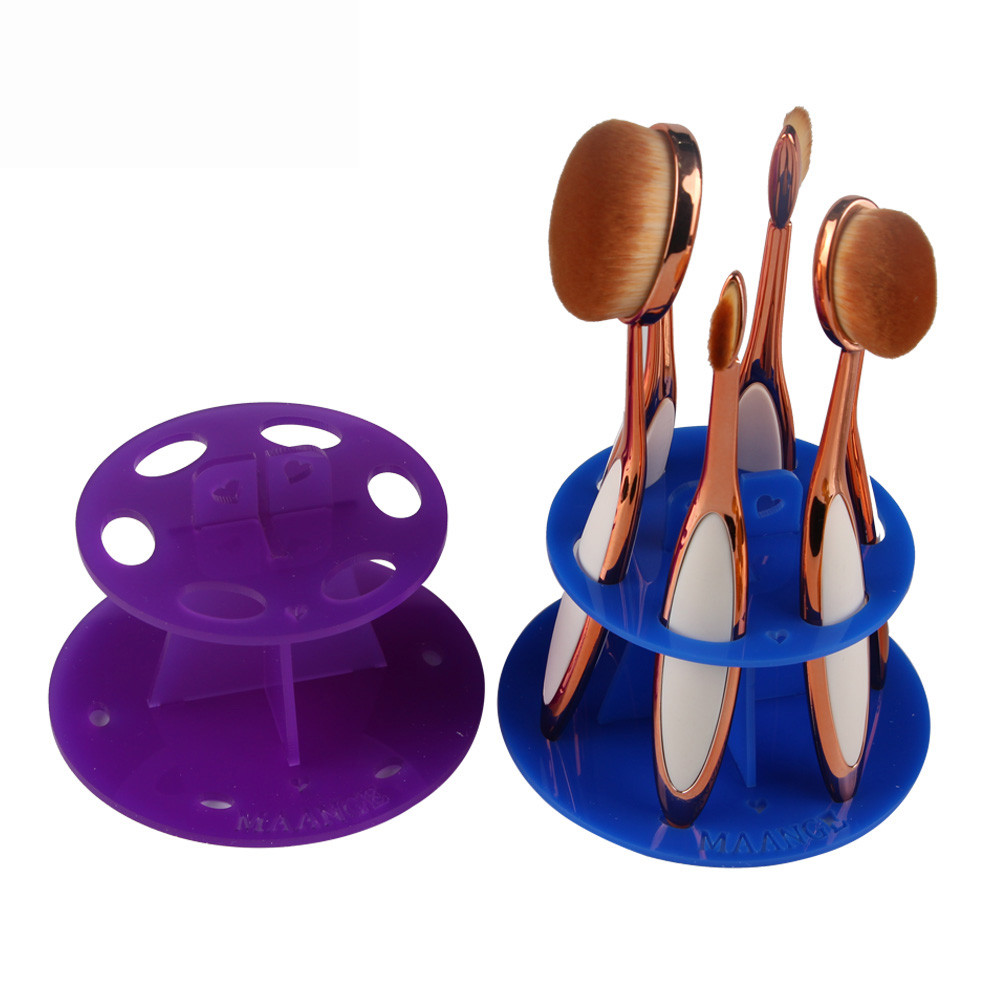 6 Hole Oval Makeup Brush Holder Drying Rack Organizer Cosmetic Shelf Tool G61018