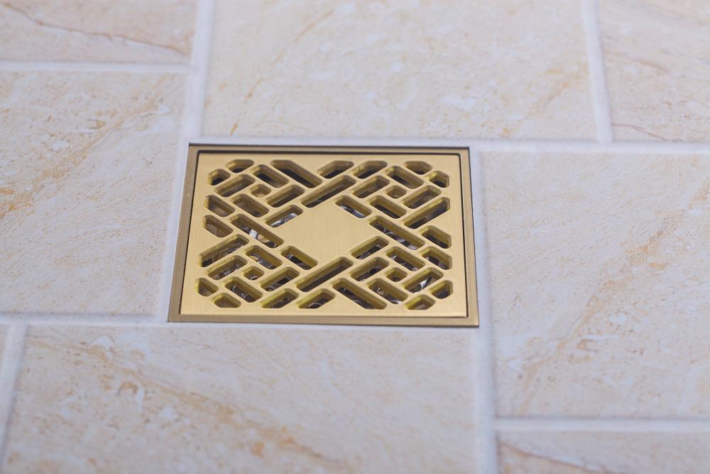 e-pak Hello Golden Polished Square Floor Drain dreno de assoalho 5404/4 Square Water Waster Drain Solid Brass<br><br>Aliexpress