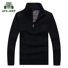 AFS JEEP 2016 Men's casual brand winter warm 100% pure cotton black pullover sweaters man autumn knit army zipper sweater 8008(China (Mainland))