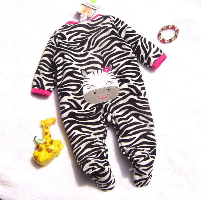 Cute Zebra Super Fleece Girls Romper Body Baby Overalls for Toddler Jumpsuit 2014 New Born Autumn Bebe Clothing Infant Clothes(China (Mainland))