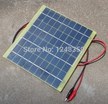 Wholesale! 5W Solar Panel Solar Cell +Crocodile Clip18V For 12 Volt Garden Fountain Pond Battery Charger 5pcs/lot Free Shipping(China (Mainland))