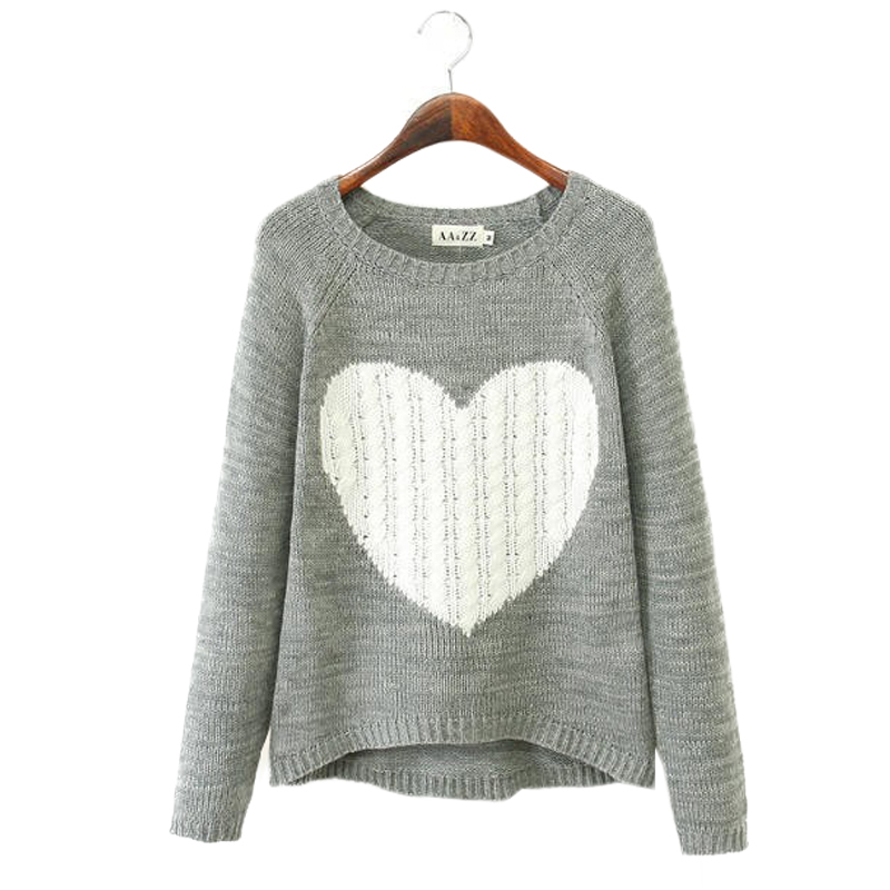 Cheap Pullover Women Sweaters Elegant Heart Pattern Pullover O neck Long Sleeve Knitwear Stylish Casual Knitted Sweater(China (Mainland))