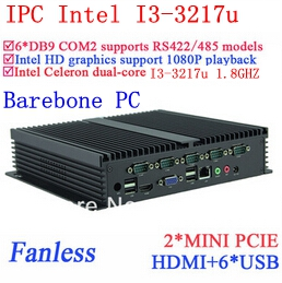Core i3 mini pc industrial computers with Dual Gigabit Ethernet NM70 chip 6 USB 6 RS232 Barebone pc Windows or Linux(China (Mainland))