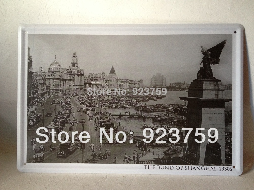 THE BUND OF SHANGHAI,1930s SHANGHAI vintage Tin Sign Bar pub home Wall Decoration Retro Metal Art Poster(China (Mainland))