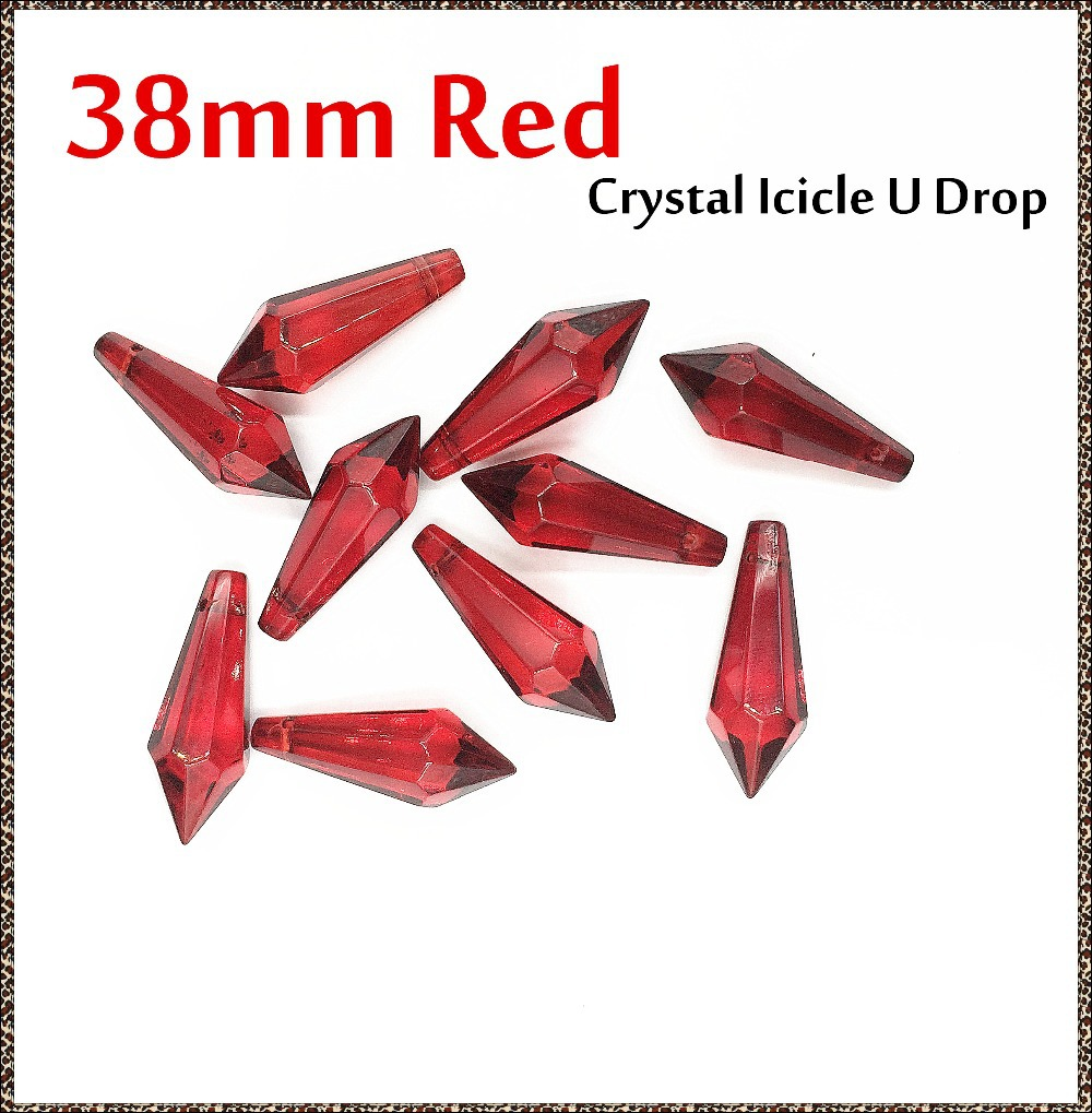 200pcs/lot Red Crystals Icicle U Drop For Lighting Glass Hanging Prism Wedding Party Supply For Sale(China (Mainland))