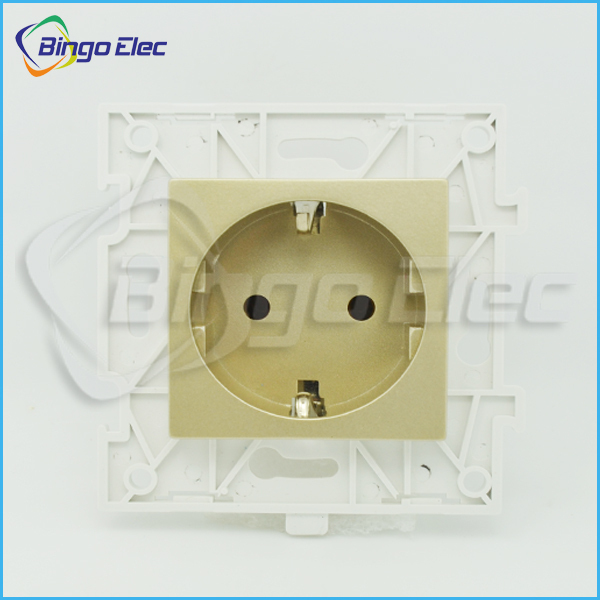 Golden PC Europe Germany style wall power socket part ,wall electric socket,CE marks,110-250v,16a, free shipping(China (Mainland))