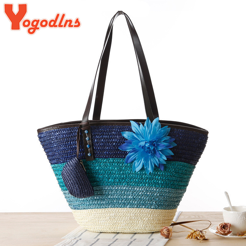 Knitted Straw bag Summer flower Bohemia fashion women's handbags color stripes shoulder bags beach bag big tote bags(China (Mainland))