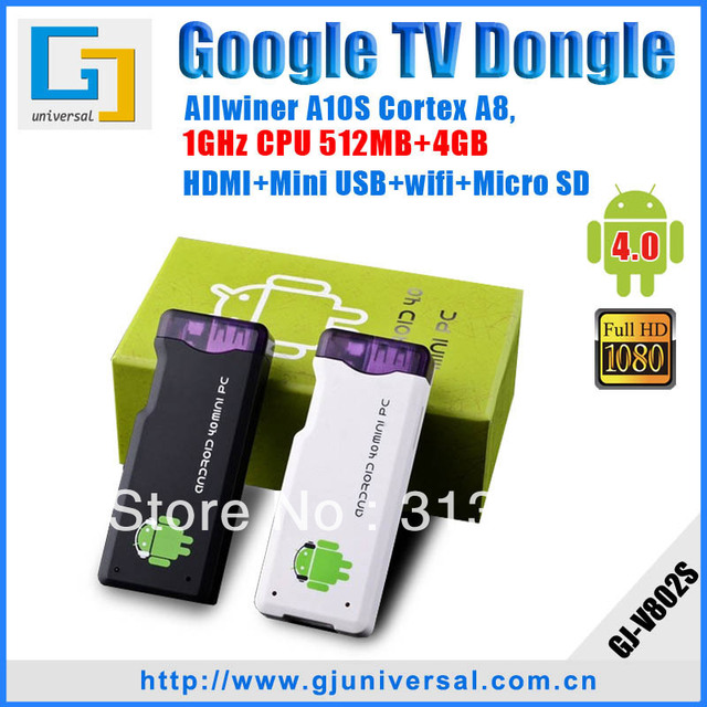 Android 4.0 HDMI Android Stick HDMI Dongle, A10S ARM Cortex+1GHz+512MB+4GB HD 1080P+WIFI+3D+Skype+MSN+Facebook+YouTube MK802S