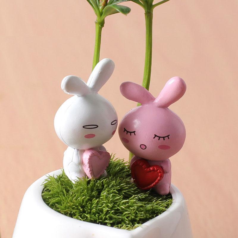mini jardim acessorios:Aliexpress.com: Compre Mini coração amante coelho Artificial de