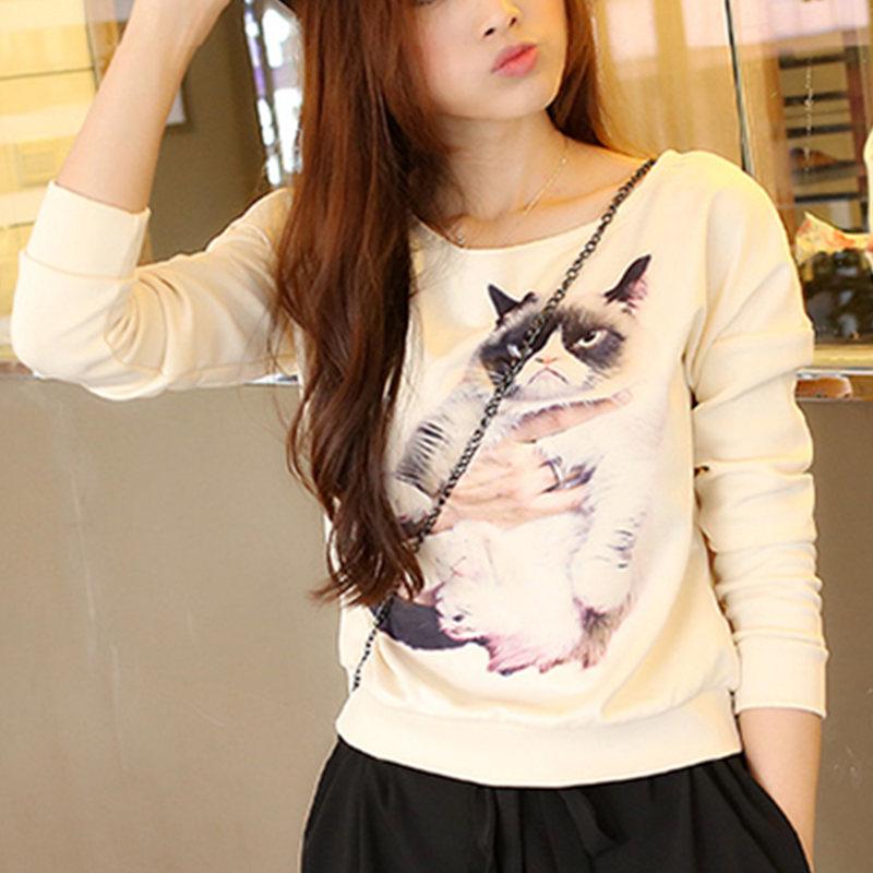 Women Hoody Autumn Warm Loose 3D Cat or tiger Print Sweatshirt Thicken Pullover Fashion Casual Hoodie Moleton Coat Plus Size XL(China (Mainland))