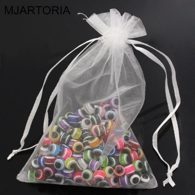 MJARTORIA 100PCs 10x15cm Organza Gift Bags & Pouches Drawstring Jewelry Packaging Bags For Wedding Christmas Gift Lovely Beads(China (Mainland))