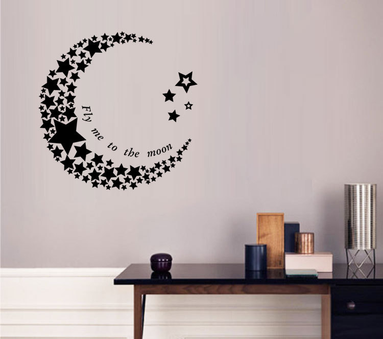 Crescent moon and stars wall stickers living room bedroom background wall decorative stickers creativity removable home stickers(China (Mainland))