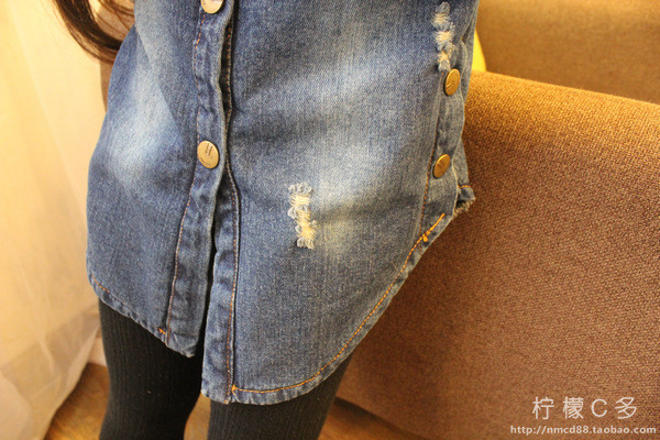 Children's wear long sleeved shirt jacket denim shirt Korean girls 2016 year old O A150 3-8 in spring and Autumn New