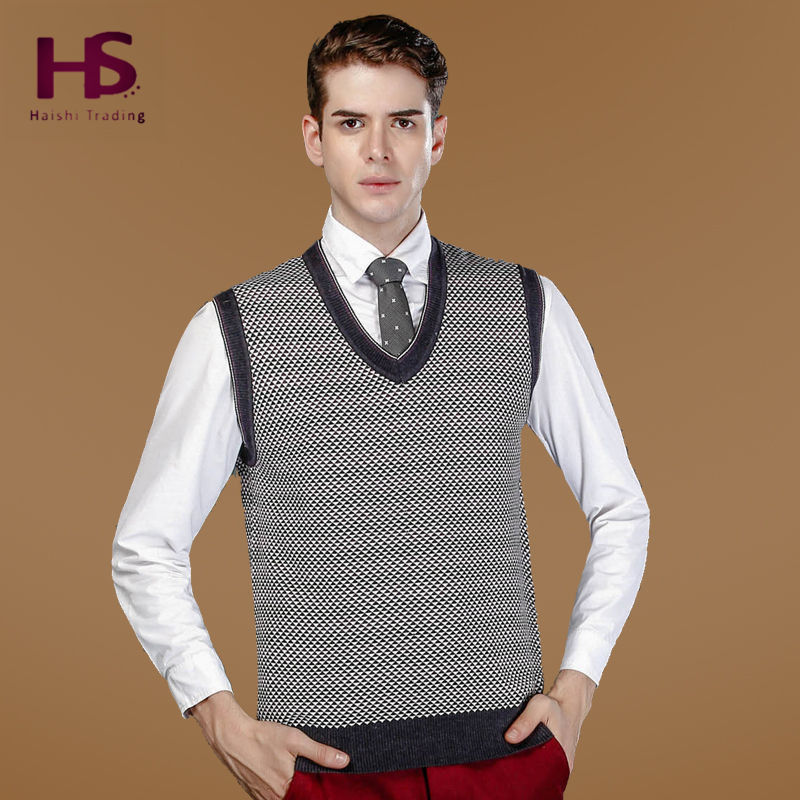 2015 New Arrival Autumn Winter Cashmere Sweater Vest Coat Men Clothing Mens Striped V-Neck Sweaters Wool Sleeveless Pullover Men(China (Mainland))