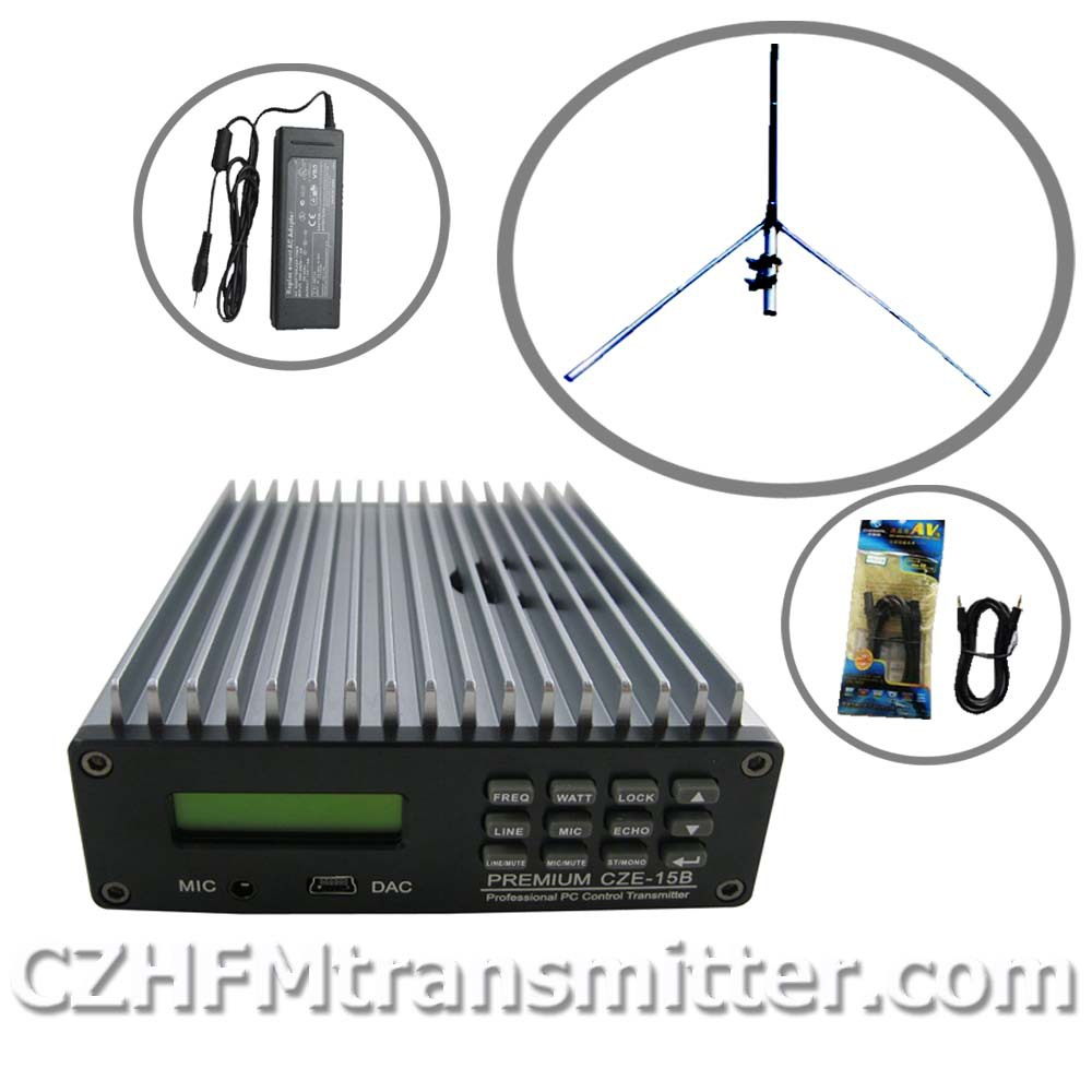 15W PREMIUM CZE-15B Professional PC Control FM Broadcast Transmitter Radio broadcast 1/4 GP antenna kit(China (Mainland))