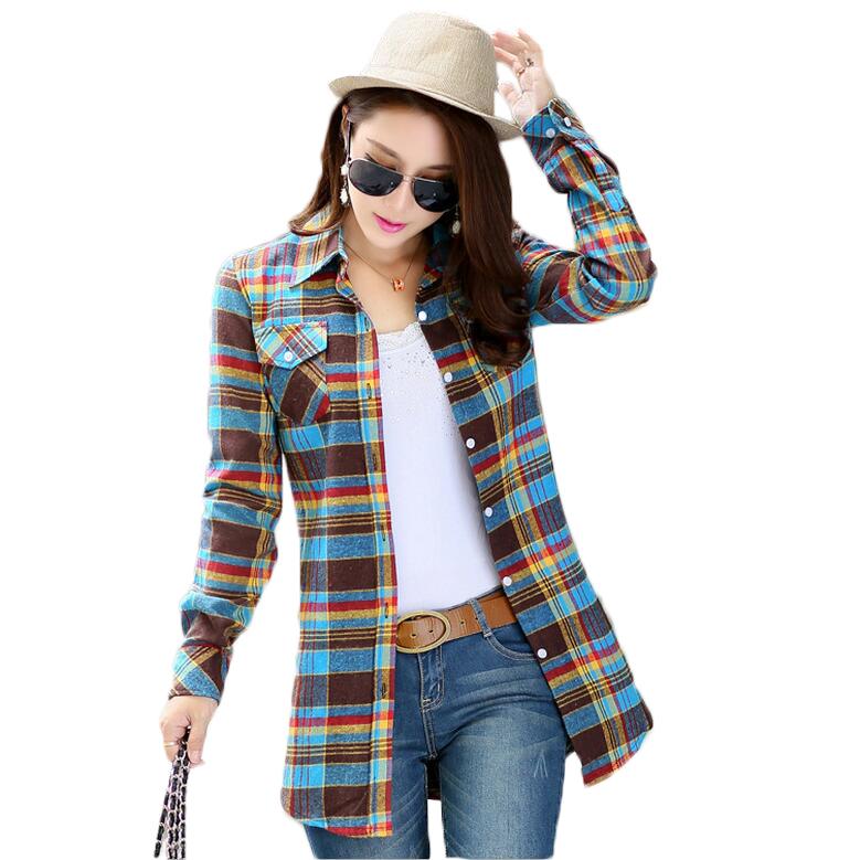 2016 New Arrival Plaid Shirt Women 39 S Blouses Long Sleeve
