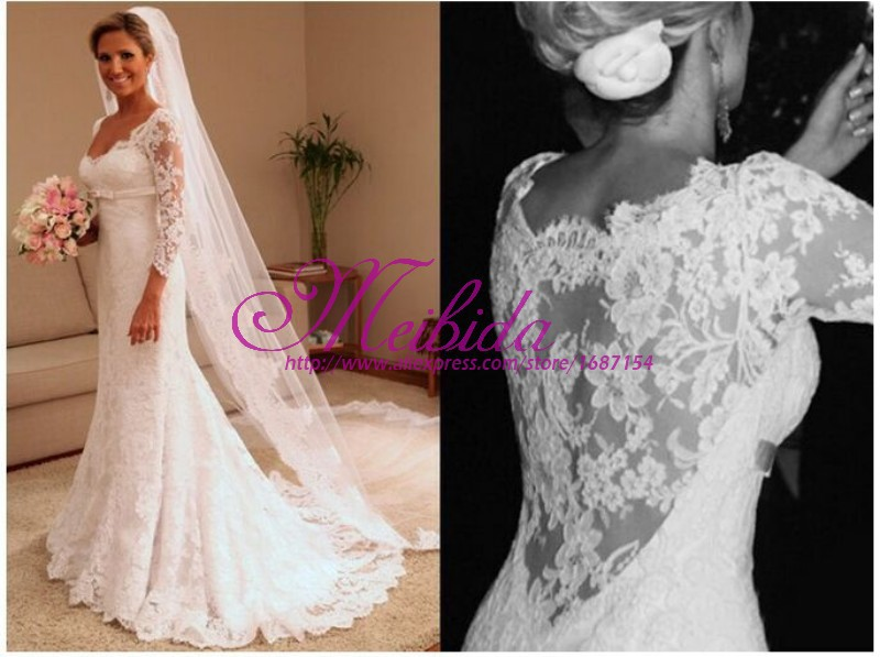 Plus size wedding dress with long sleeves