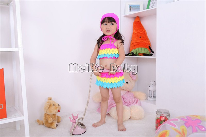 new design rainbow baby girl bikini swimwear 3pcs/set beachwear/kid's swimwear/fashion 5set/lot
